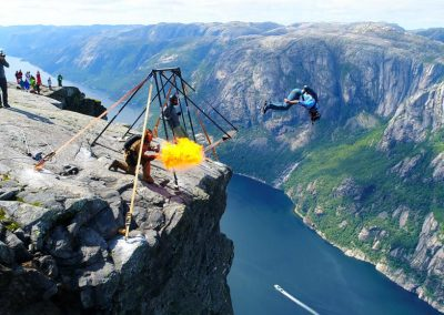 Base jump from Kjerag
