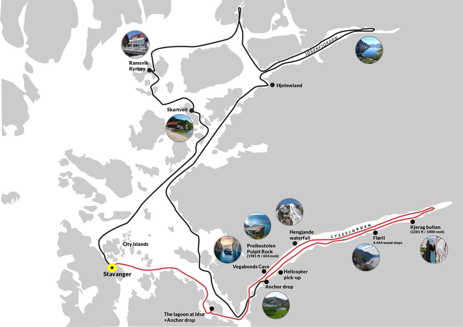 Private Cruise Lysefjorden map 1 2 days cruise