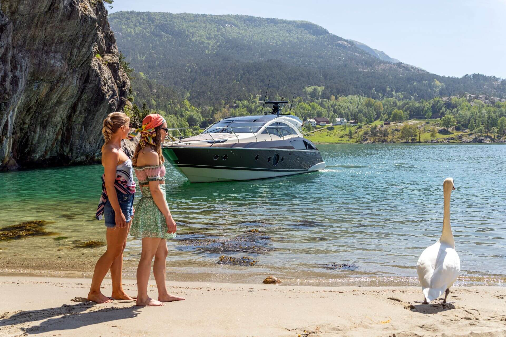 Enjoying the beach in Lysefjord with Marquis Yacht for Private Cruise