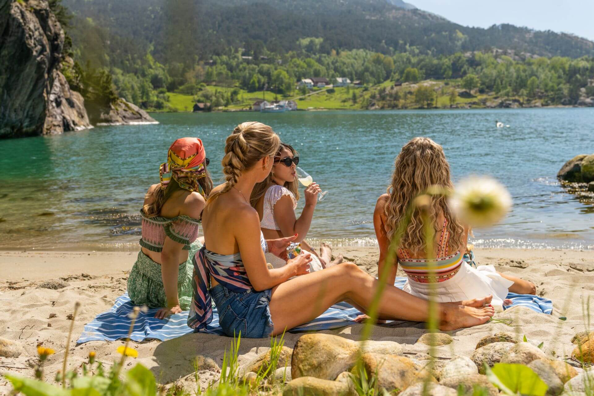 Enjoying the beach in Lysefjord for Private Cruise