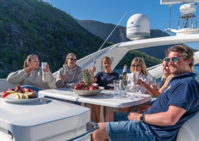 Enjoying the views on the flydeck of Barolo III for Private Cruise
